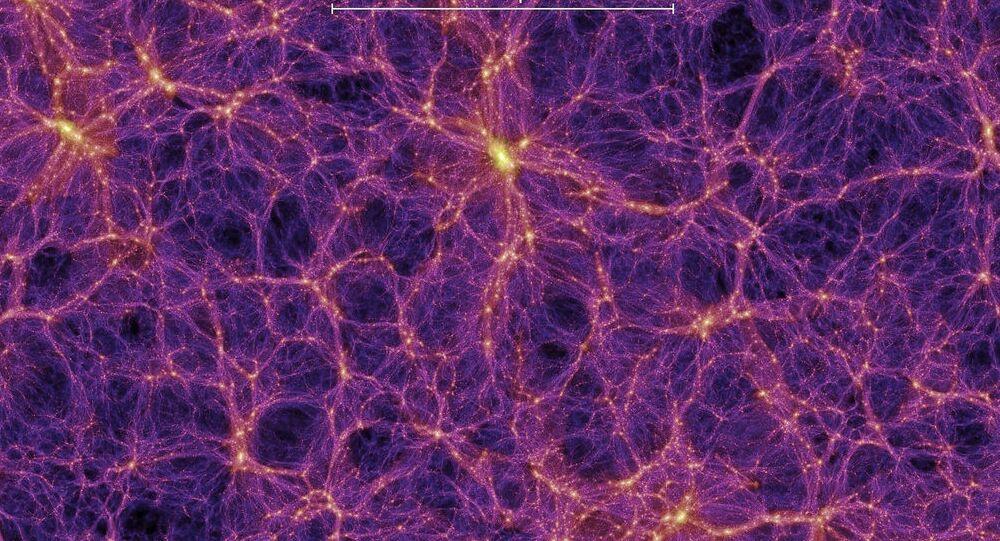 Teia cósmica, constituída por matéria comum e matéria escura