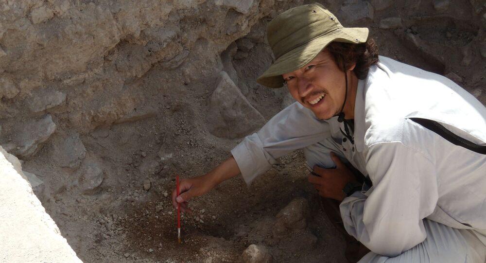O professor Kenichiro Tsukamoto trabalhando nas escavações no antigo sítio arqueológico maia de El Palmar