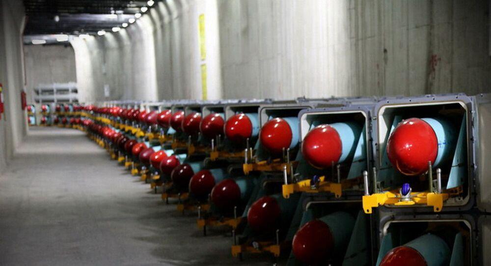 Mísseis em uma instalação de armazenamento subterrâneo em um local não revelado no Irã