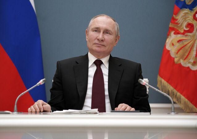 Presidente da Rússia, Vladimir Putin, em videoconferência no dia 17 de março de 2021
