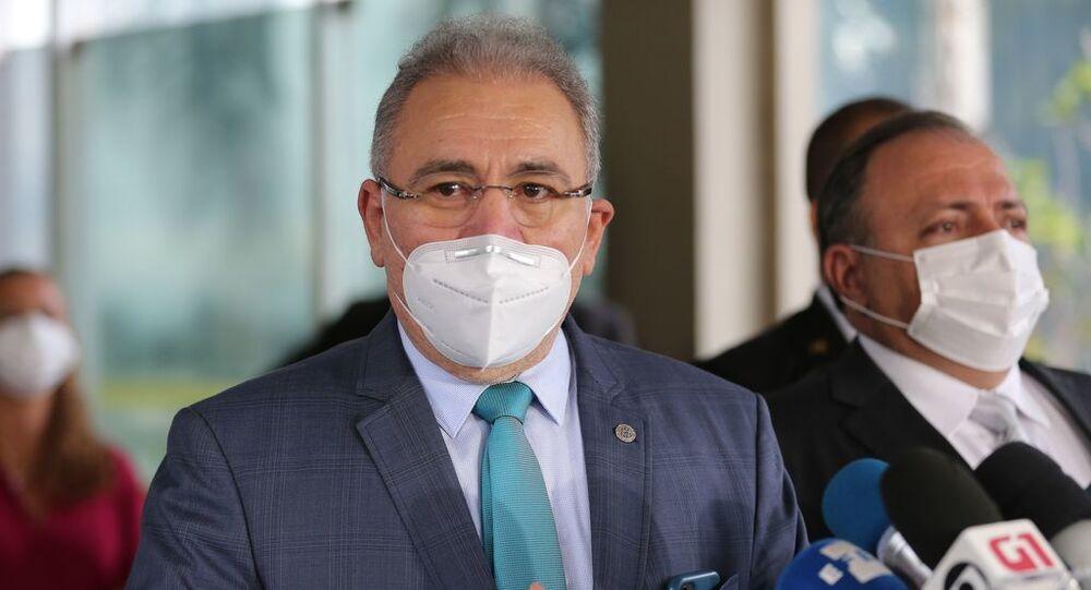 O médico cardiologista Marcelo Queiroga, indicado para ser o novo ministro da Saúde, faz pronunciamento à imprensa.