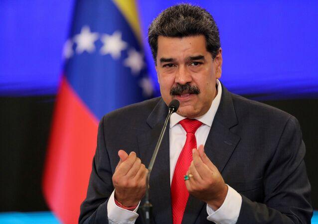 O presidente da Venezuela, Nicolás Maduro, faz pronunciamento em Caracas, na Venezuela.