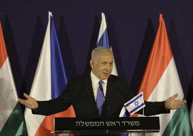 Benjamin Netanyahu fala durante sua reunião com o primeiro-ministro da Hungria, Viktor Orbán e o primeiro-ministro da República Tcheca, Andrej Babis, em Jerusalém, na quinta-feira, 11 de março de 2021. (Abir Sultan / Pool Photo via AP)