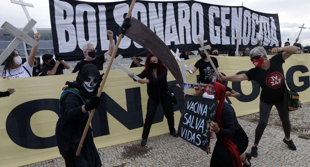 Protesto em Brasília contra a gestão da pandemia pelo governo do presidente Jair Bolsonaro