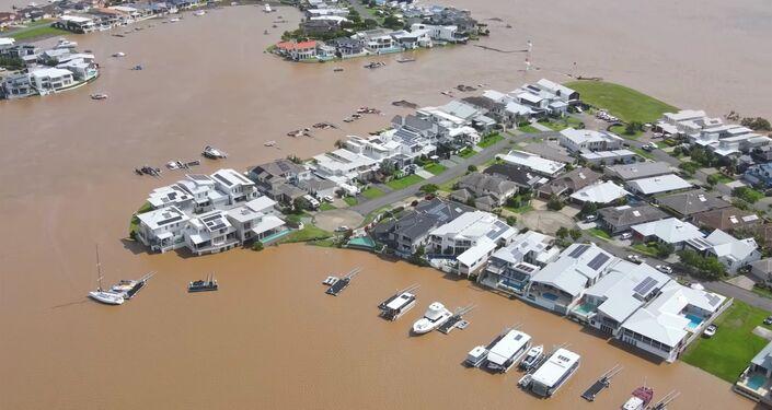 Vista aérea de Port Macquarie durante as fortes chuvas que atingiram a cidade de Nova Gales do Sul, na Austrália