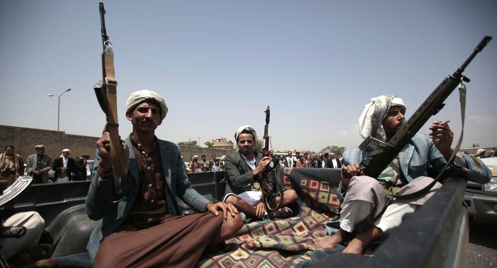 Houthis que combatem no Iêmen.