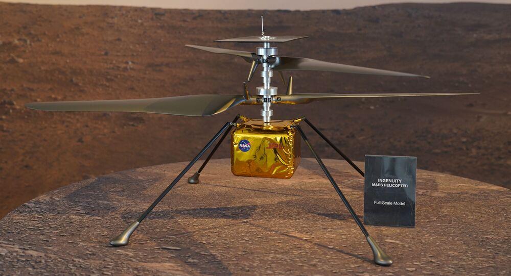 Modelo do helicóptero de Marte, Ingenuity, da NASA