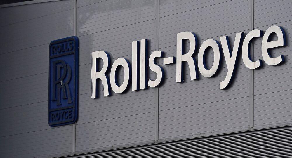 Logotipo da empresa Rolls-Royce em Bristol, Reino Unido, 17 de dezembro de 2015