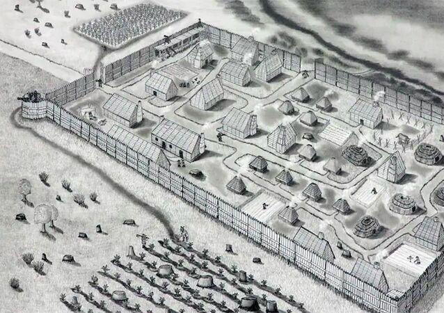 Representação artística de como seria o forte St. Mary, o primeiro assentamento de colonos ingleses em Maryland, nos EUA
