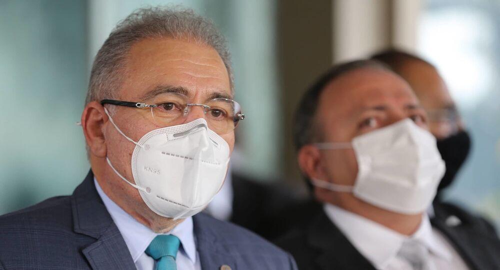 O médico cardiologista Marcelo Queiroga, novo ministro da Saúde, fala à imprensa