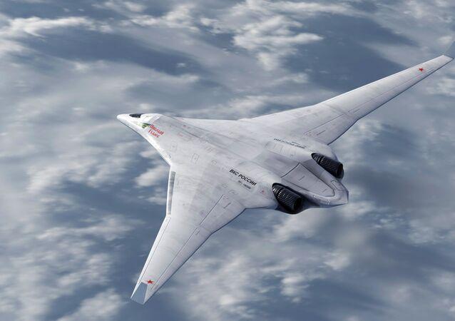 Protótipo do bombardeiro furtivo russo PAK DA em representação 3D