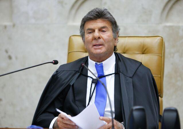 O presidente do STF, ministro Luiz Fux, durante sessão realizada por videoconferência.