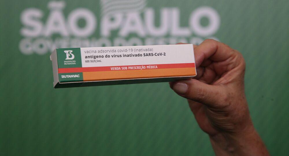 O governador de São Paulo João Doria anuncia o desenvolvimento pelo Instituto Butantan da primeira vacina brasileira contra a COVID-19: a ButanVac, em 26 de março de 2021