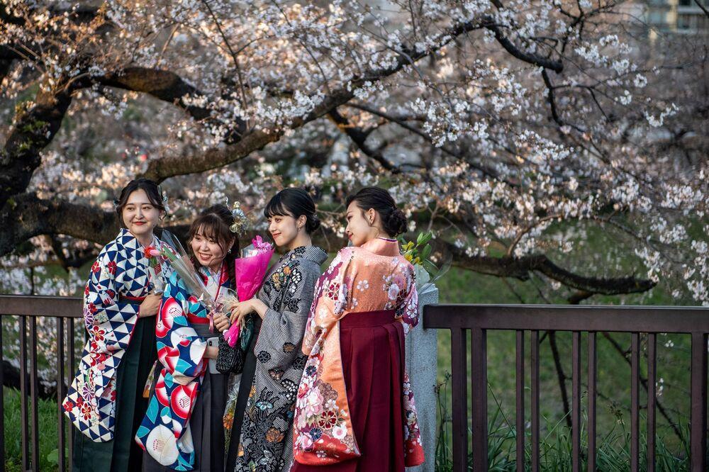 Moças usando hakama, um traje tradicional para cerimônias de formatura da universidade, posam para fotos por baixo de uma cerejeira em flor em Tóquio, Japão