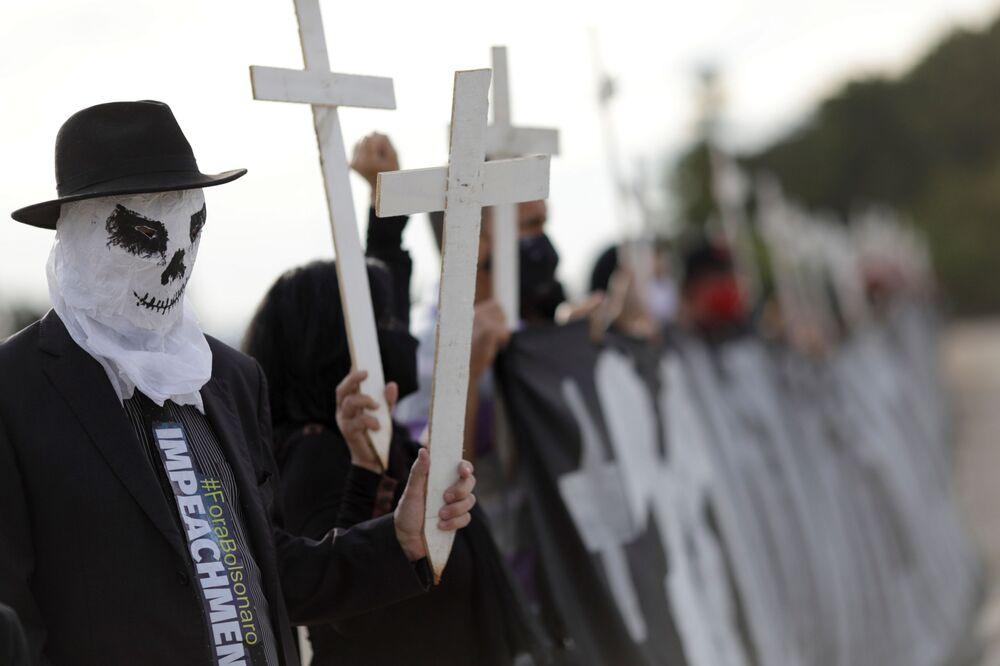 Protestos em Brasília contra o manejo da pandemia de COVID-19 pelo presidente Jair Bolsonaro