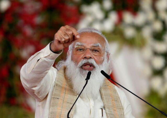 Em Ahmedabad, na Índia, o primeiro-ministro indiano, Narendra Modi, discursa durante encontro em celebração aos 75 anos de independência do país, em 12 de março de 2021
