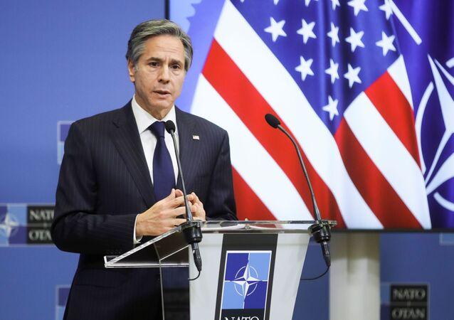 Antony Blinken, secretário de Estado dos EUA, dá coletiva de imprensa na sede da OTAN em Bruxelas, Bélgica, 24 de março de 2021