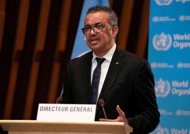 O diretor-geral da Organização Mundial da Saúde, Tedros Adhanom Ghebreyesus, em foto de 18 de janeiro de 2021, durante coletiva de imprensa em Genebra, na Suíca