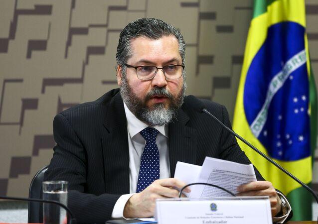O ministro das Relações Exteriores, Ernesto Araújo, durante audiência pública na Comissão de Relações Exteriores e Defesa Nacional do Senado.