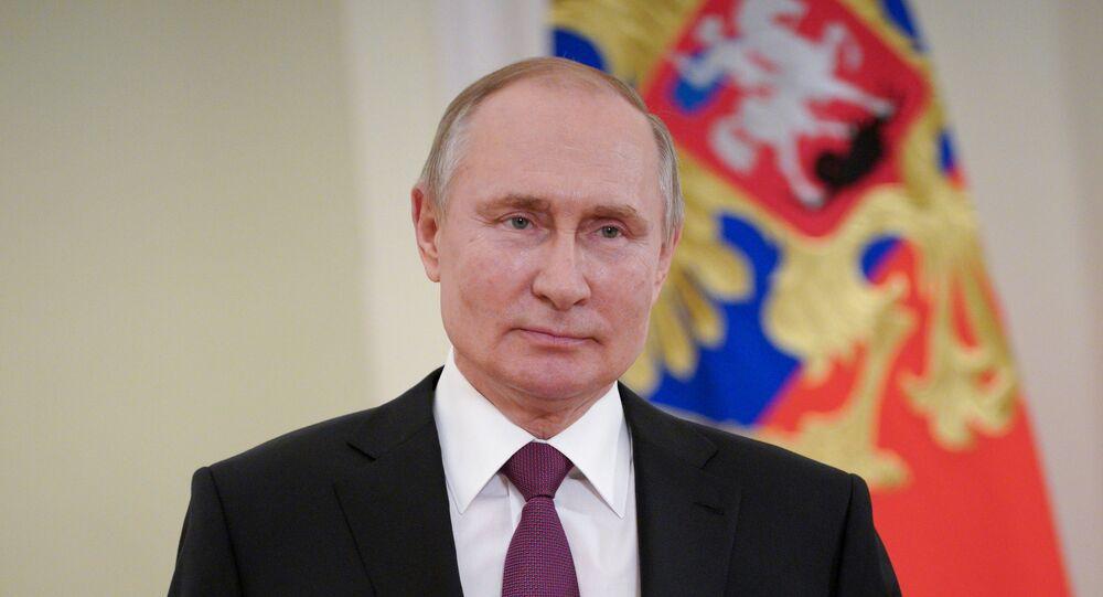 O presidente da Rússia, Vladimir Putin, durante pronunciamento.