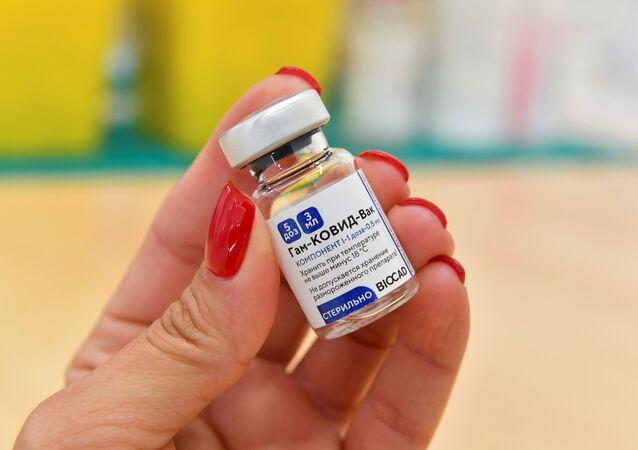 Vacina russa Sputnik V contra o SARS-CoV-2 em exposição em São Marino, 29 de março de 2021