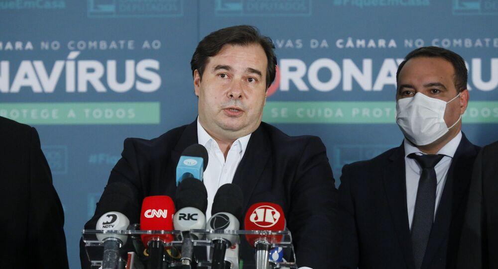 O deputado federal Rodrigo Maia, em coletiva de imprensa no dia 3 de setembro de 2020