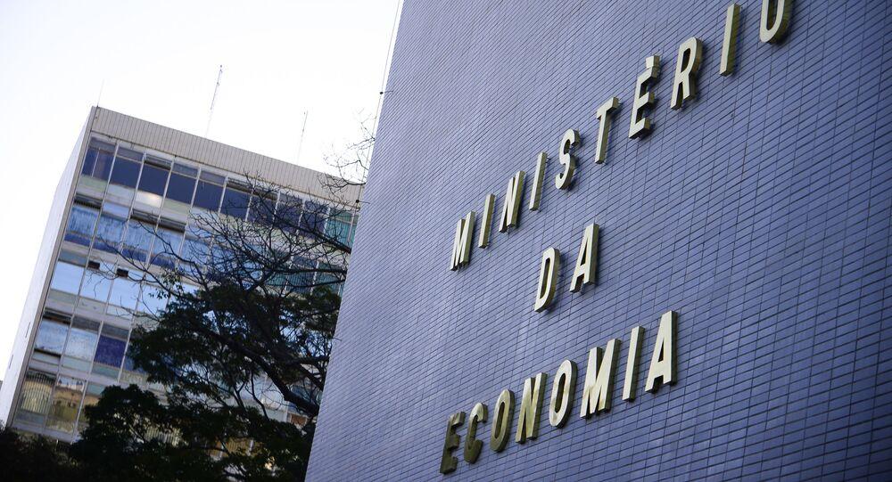 Fachada do Ministério da economia na Esplanada dos Ministérios, em Brasília