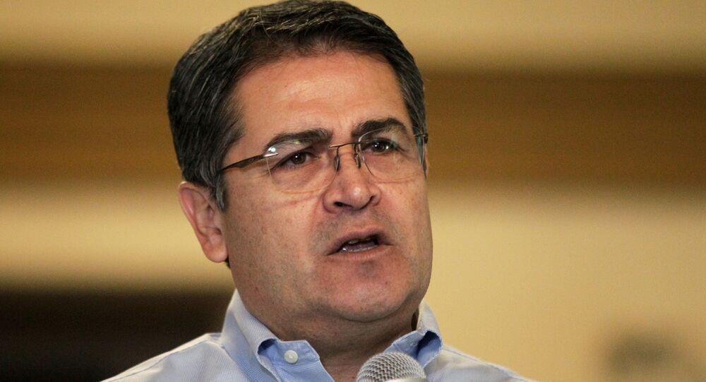 O presidente de Honduras Juan Orlando Hernández
