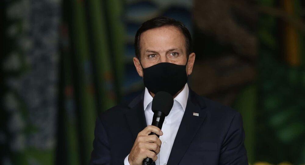 João Doria, governador de São Paulo, durante coletiva de imprensa para anúncio de novas medidas de combate ao coronavírus, no dia 10 de março