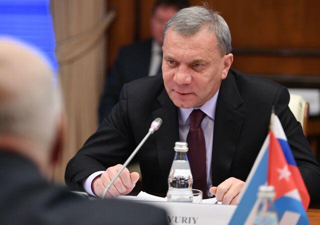 Em Moscou, o vice-primeiro-ministro da Rússia, Yuri Borisov, fala com o vice-presidente do Conselho de Ministros de Cuba, Ricardo Cabrisas Ruiz, em 25 de janeiro de 2019