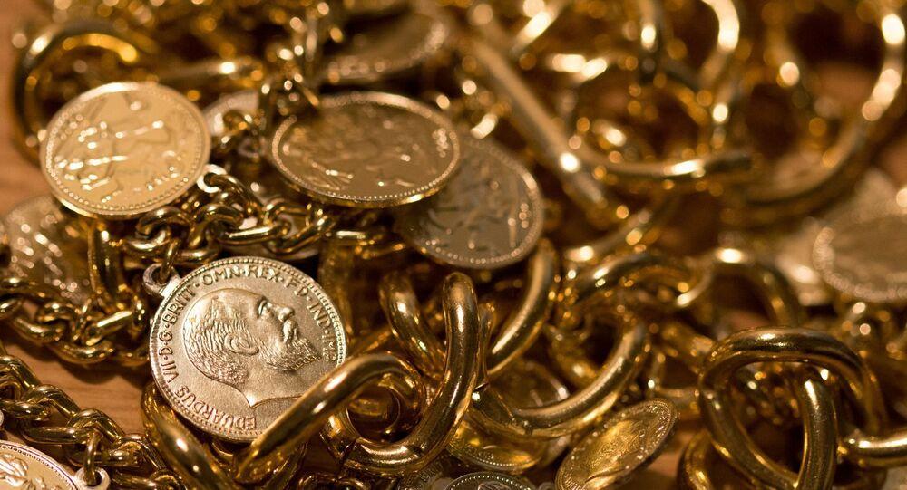 Tesouro, moedas, joias