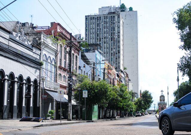 Centro comercial fechado em Manaus, no estado do Amazonas, devido às medidas de restrições contra a COVID-19 (25 de janeiro de 2021)