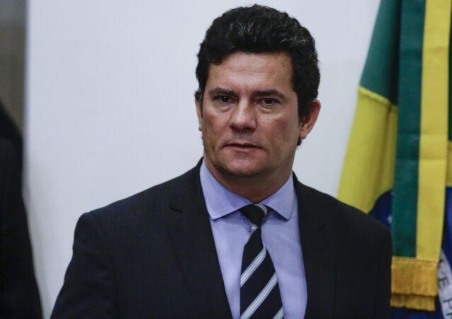 O ex-juiz e ex-ministro, Sergio Moro, durante pronunciamento à imprensa.