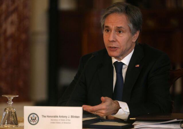 O secretário de Estado dos Estados Unidos, Antony Blinken, durante reunião.