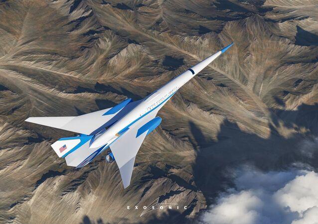 Representação gráfica do futuro avião presidencial dos EUA, desenvolvido pela Prime Studios em colaboração com a Exosonic