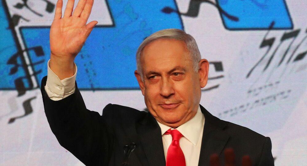 Primeiro-ministro de Israel, Benjamin Netanyahu, durante discurso a apoiadores em Jerusalém, 24 de março de 2021