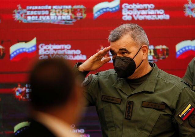 O ministro da Defesa da Venezuela, Vladimir Padrino López, em Caracas, na Venezuela, no dia 5 de abril de 2021