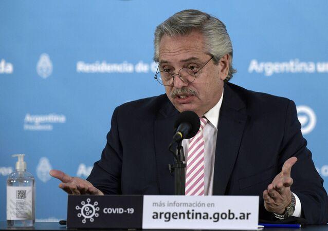 O presidente da Argentina, Alberto Fernández, durante pronunciamento.