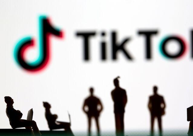 Pequenos bonecos de brinquedo são vistos na frente do logotipo da rede social TikTok