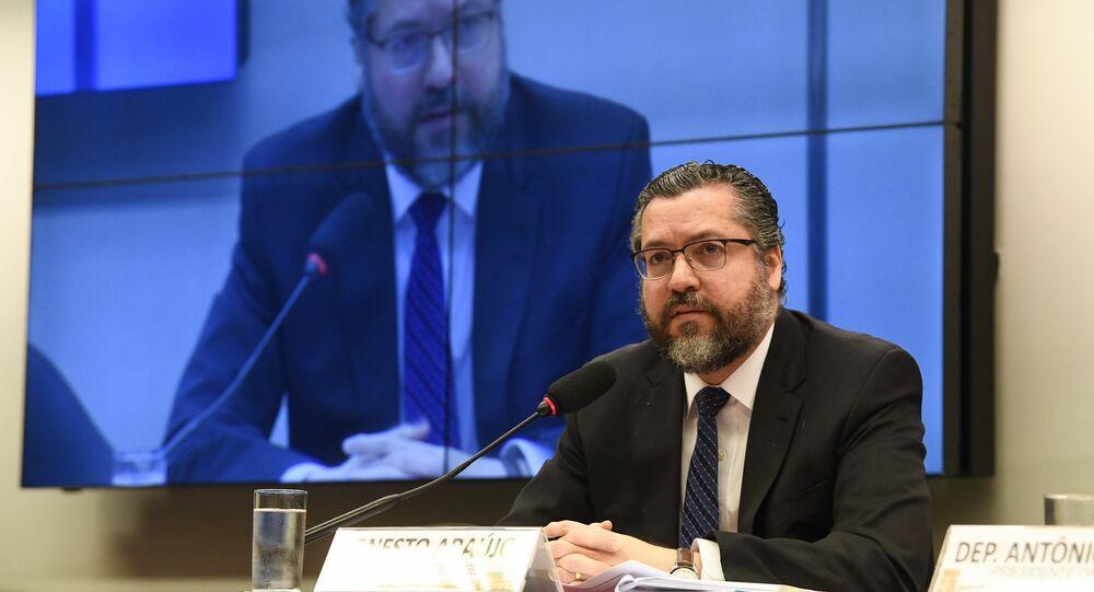 O ex-ministro Ernesto Araújo, durante audiência pública na Comissão de Seguridade Social e Família da Câmara dos Deputados, em 7 de agosto de 2019