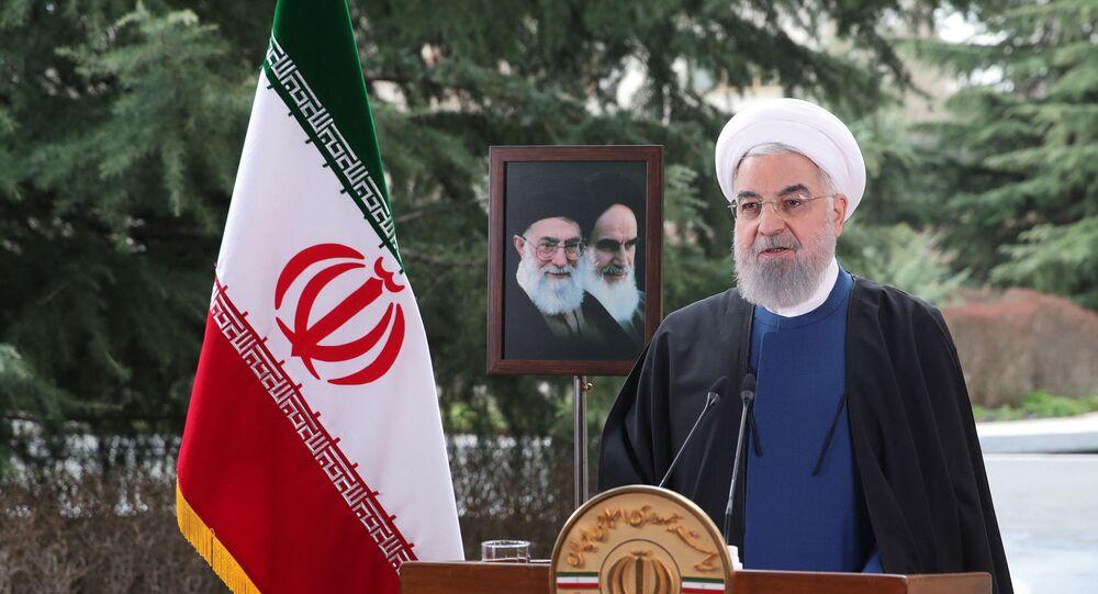 Presidente do Irã, Hassan Rouhani, discursa durante as celebrações do ano novo iraniano, em Teerã, Irã, 20 de março de 2021