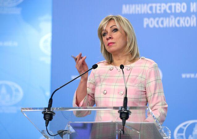 Representante oficial do Ministério das Relações Exteriores da Rússia, Maria Zakharova, durante briefing em Moscou