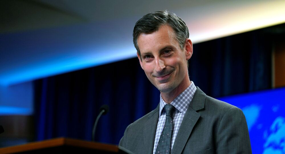Ned Price, porta-voz do Departamento de Estado dos EUA, durante coletiva de imprensa em Washington, EUA, 31 de março de 2021