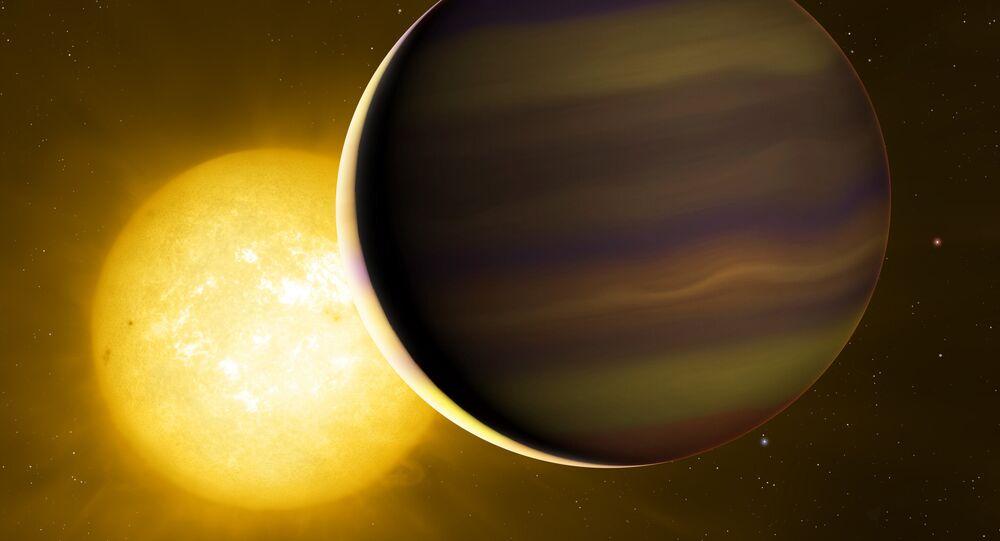 O exoplaneta HD 209458b transita por sua estrela