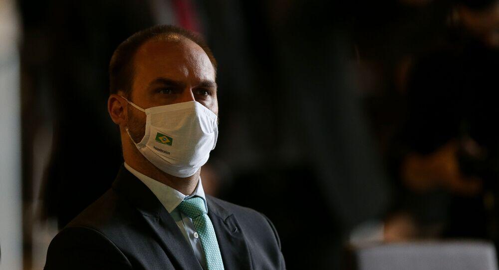 O deputado Eduardo Bolsonaro (PSL-SP), no dia 8 de dezembro de 2020