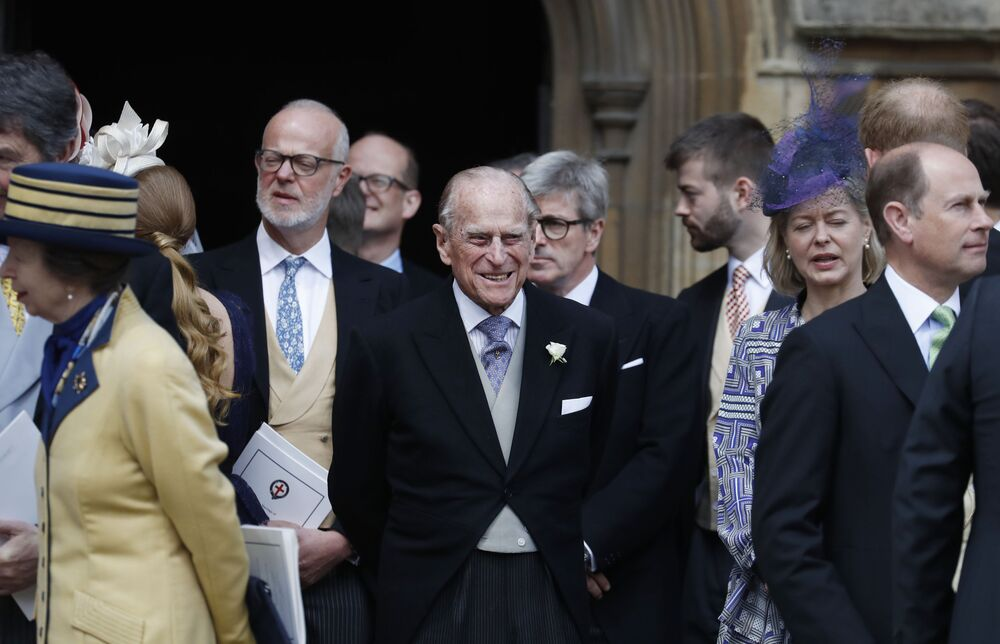 Príncipe Philip após o casamento de Gabriella Windsor e Thomas Kingston na Capela de São Jorge, Reino Unido, 18 de maio de 2019