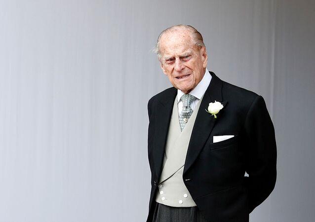 Príncipe britânico Philip durante o casamento da princesa Eugenie de York e Jack Brooksbank no Reino Unido