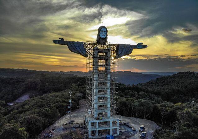 Vista para futura estátua de Cristo Redentor no Rio Grande do Sul, que promete ser maior que a do Rio, 9 de abril de 2021