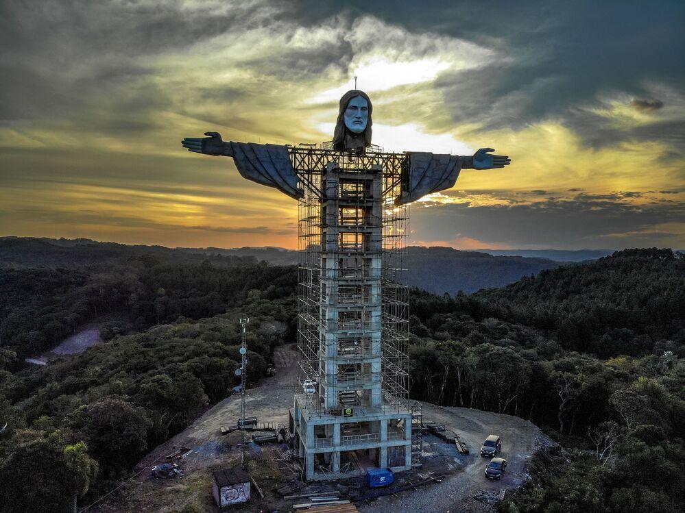 Vista para futura estátua de Cristo Redentor no Rio Grande do Sul, que promete ser maior que a do Rio, 9 de abril de 2021.