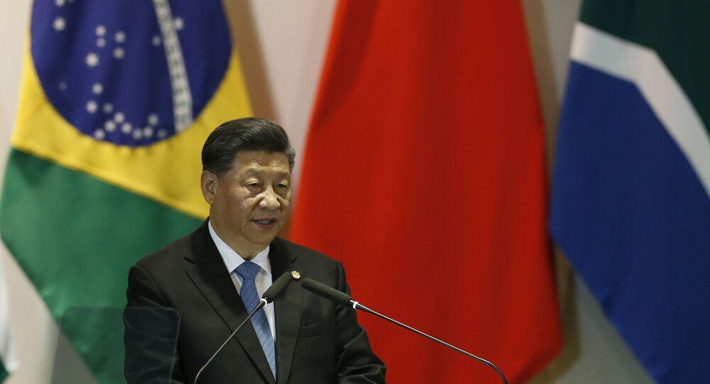 Presidente da China, Xi Jinping, durante encontro dos países do BRICS no Itamaraty, em Brasília, 14 de novembro de 2019 (foto de arquivo)
